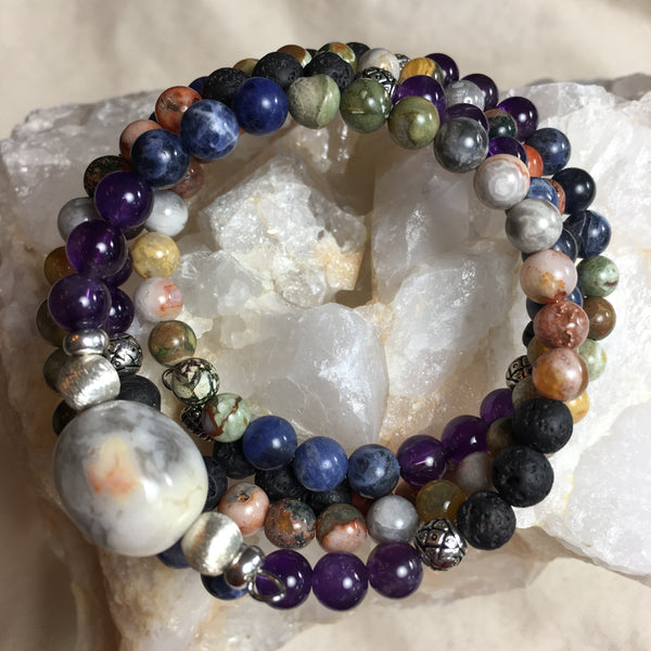 Mala Chakra Bracelet: Lava Rock, Agate, Crazy Lace Agate, Rhyolite, Sodalite, Amethyst and with Crazy Lace Agate Guru Stone, on memory wire