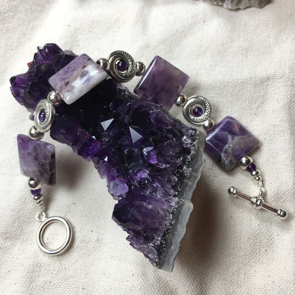 Banded Amethyst and Amethyst Bracelet with Toggle