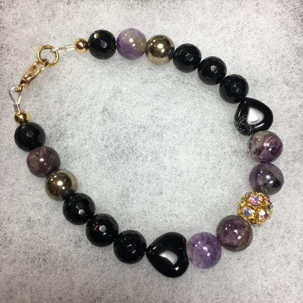 Charoite, Black Agate Hearts, Black Onyx Faceted, Gold Hematite, Gold Crystal Rhinestone Bracelet