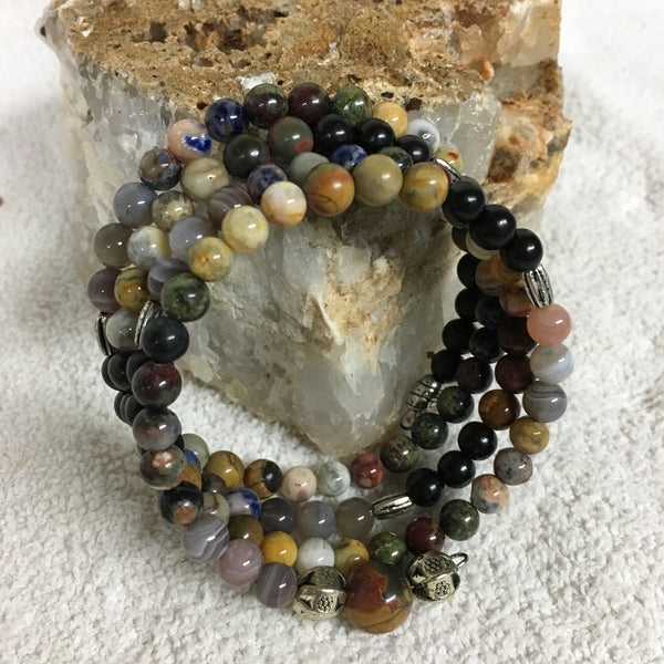 Chakra MALA Bracelet with Black Sandalwood, Picasso Jasper, Crazy Lace Agate, Dragon's Blood, Orange Sodalite, Botswana Agate, and a Cherry Creek Jasper Guru Stone