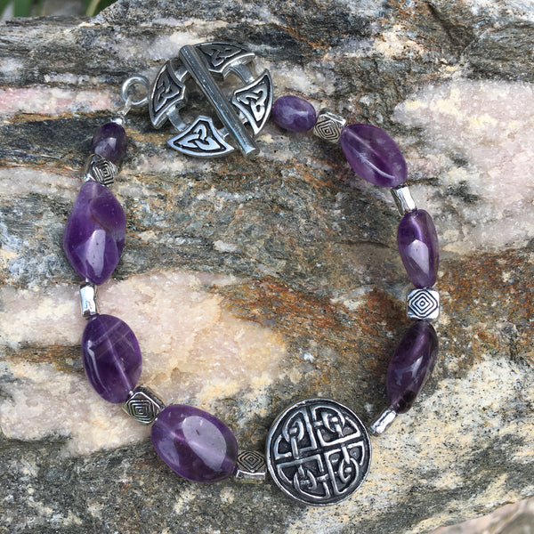 Amethyst Bracelet with Protection Knot Charm and Triquetra Knot Toggle