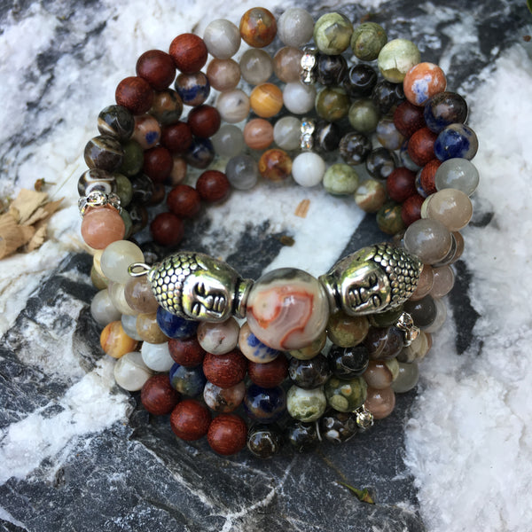 Chakra MALA Bracelet with Turritella Agate, Red Sandalwood, Crazy Lace Agate, Rhyolite, Orange Sodalite, Moonstone, and Crazy Lace Agate Guru Stone