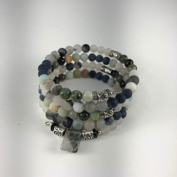 MALA BRACELET, RAW PHANTOM QUARTZ GURU