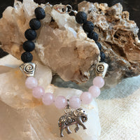 Lava Rock and Rose Quartz Bracelet with Elephant Amulet