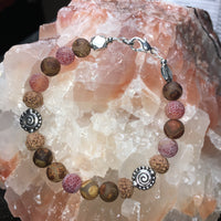 Tibetan Agate (brown), Rudraksha Beads, Agate Fire Crackle Bracelet