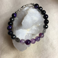 Banded Agate, Agate Purple/Black Faceted, Black Agate, Hematite