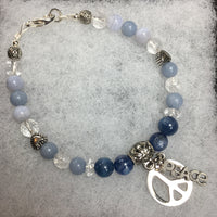 Kyanite, Clear Quartz, Blue Lace Agate, Clear Quartz Crackle, Angelite Bracelet