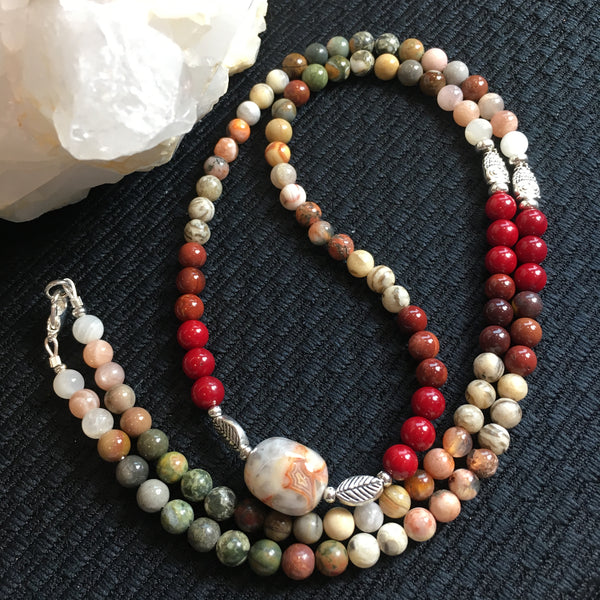 MALA Necklace—Red Coral, Mookaite, Tiger Jasper, Agate, Crazy Lace Agate, Picasso Jasper, Rhyolite, Polychrome Jasper, Moonstone with Crazy Lace Agate GURU