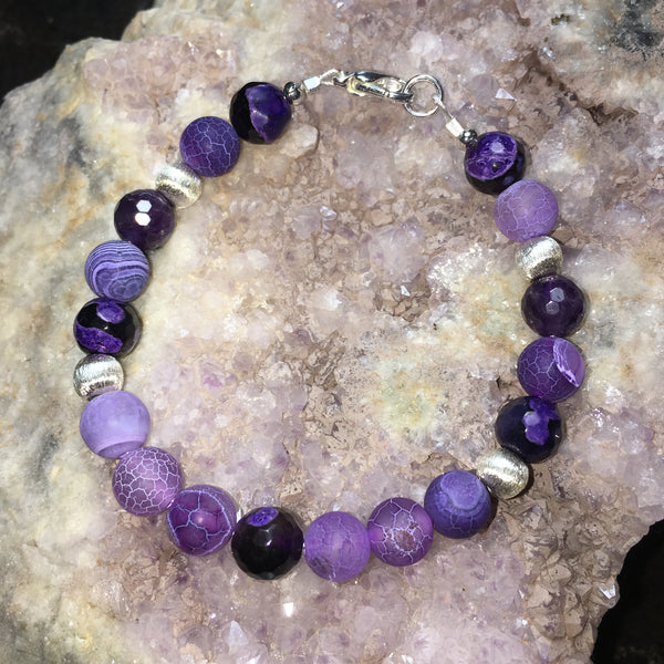 Agate Purple Crackle, Agate Purple/Black (faceted), Amethyst (faceted) Bracelet