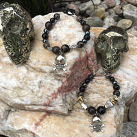 Unisex Bracelets with Petrified Wood, Rainbow Obsidian, Turritella Agate, Black Tourmaline, and Hematite