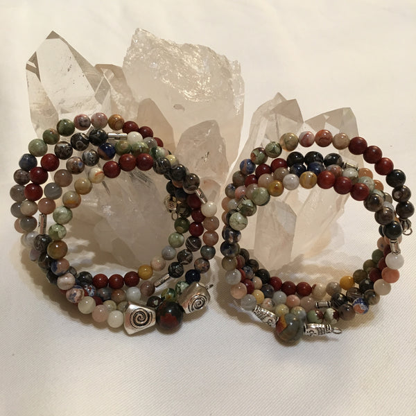 Chakra MALA Bracelet with Turritella Agate, Red Sandalwood, Crazy Lace Agate, Rhyolite, Orange Sodalite, Moonstone, and a Cherry Creek Jasper Guru Stone