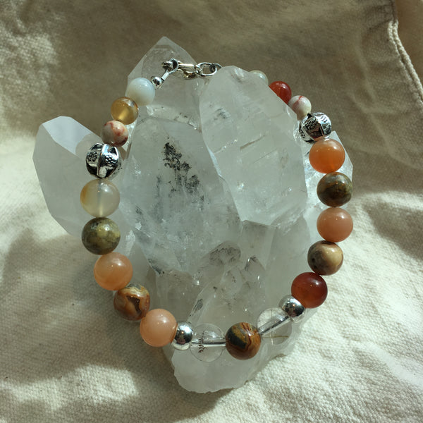 Carnelian, Crazy Lace Agate, Rutilated Quartz Bracelet