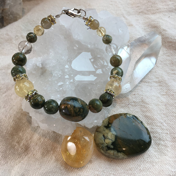 Rhyolite, Citrine, Rutilated Quartz Bracelet