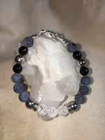 Clear Quartz Crackle, Silver Hematite, Black Agate Crackle, Black Onyx Faceted