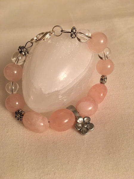 Rose Quartz, Clear Quartz Bracelet, 7.5""