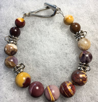 Mookaite, Banded Amethyst Bracelet with Pewter Toggle