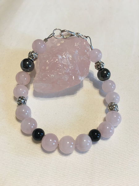 Rose Quartz, Black Agate and Hematite Bracelet