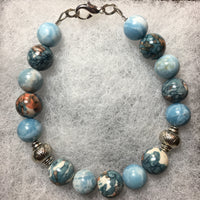 Rain Flower Stone and Larimar Bracelet