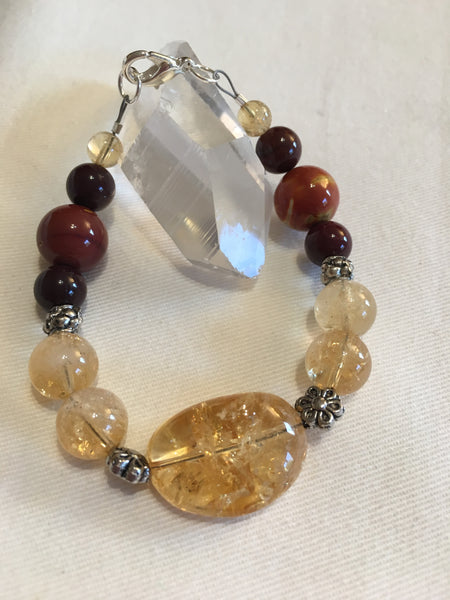 Citrine and Mookaite Bracelet