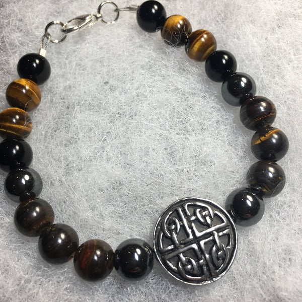 Hematite, Tiger Iron, Tiger Eye, Black Agate Bracelet with Pewter Circle/Celtic Knots Amulet