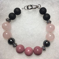 Rhodonite, Hematite, Rose Quartz, Lava Rock Bracelet