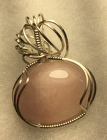 Rose Quartz Cabochon, lovingly wrapped in Argentium Silver