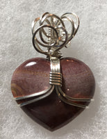 Petrified Wood Large Heart Pendant