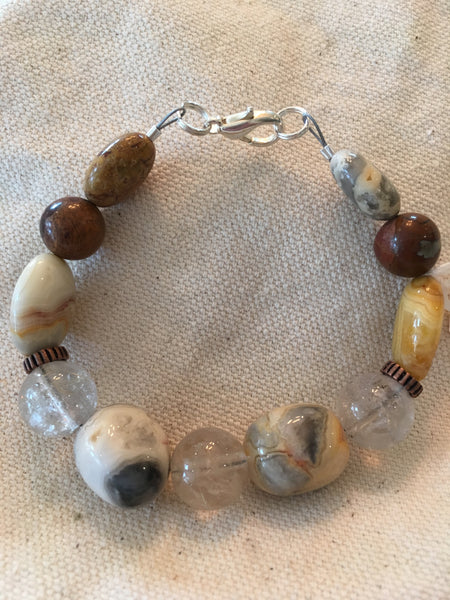 Rutilated Quartz, Crazy Lace Agate, Cherry Creek Jasper