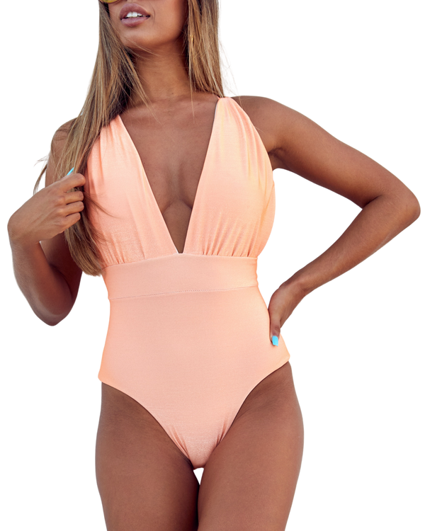 V-Cut Peach One Piece