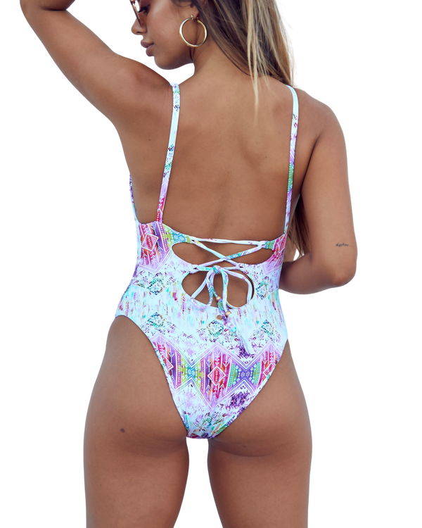 Open back one piece swimsuit