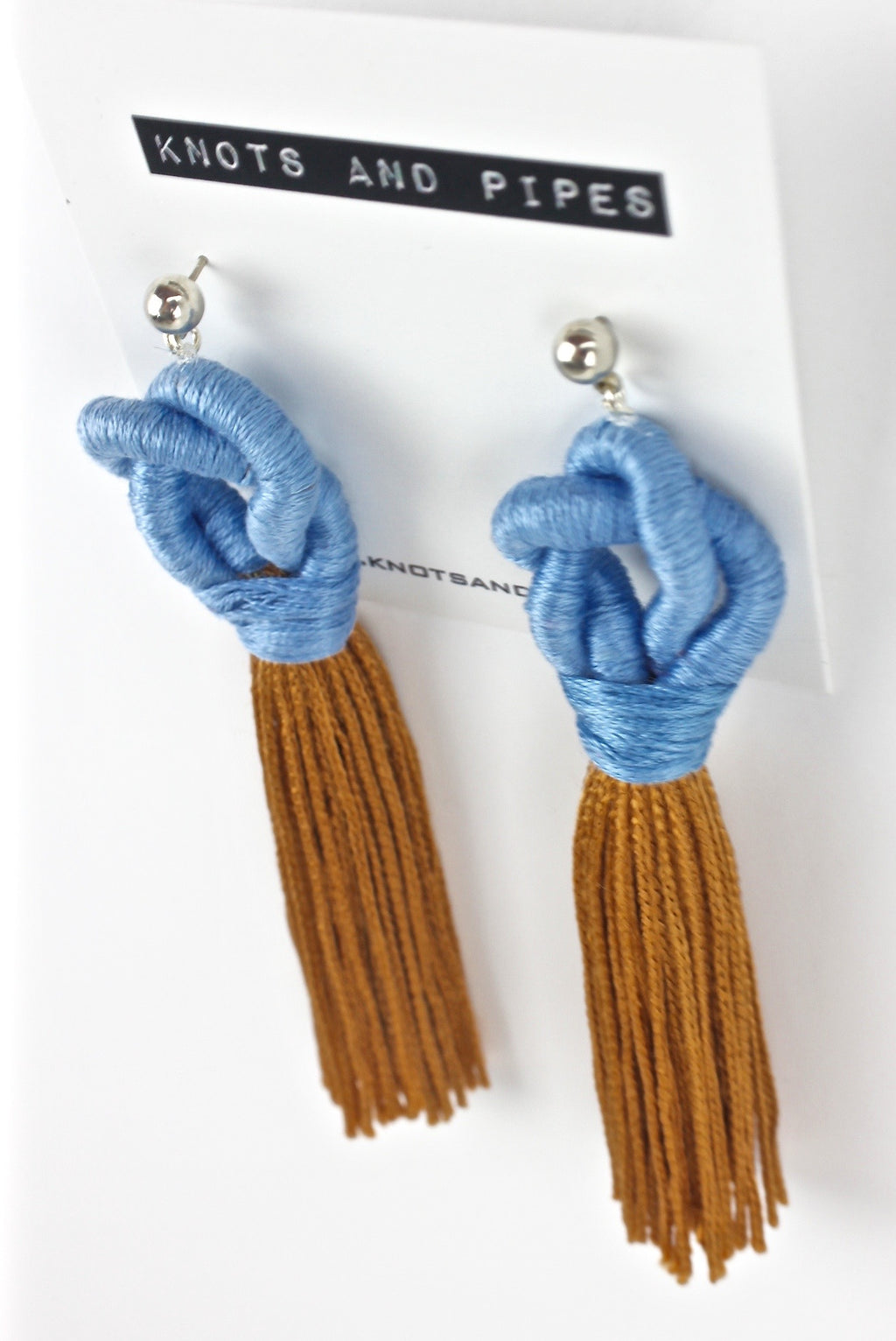 Blueberry Copper Knot Tassel Earrings - KnotsandPipes