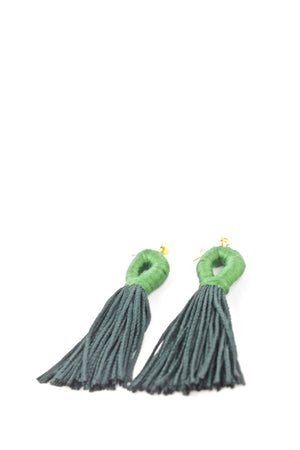 Emerald Green Loop Tassel Earrings - KnotsandPipes