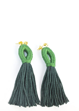 Peacock Blue Loop Tassel Earrings - KnotsandPipes
