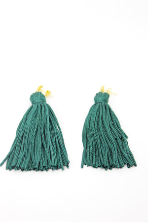 Emerald Green Plain Knot Tassel Earrings - KnotsandPipes