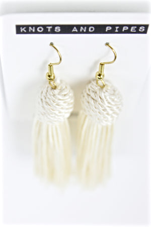 Ivory Beehive Knot Tassel Earrings - KnotsandPipes