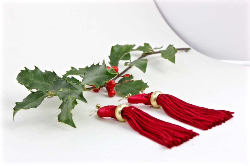 Red Tassel Earrings; Knots and Pipes Holiday Collection