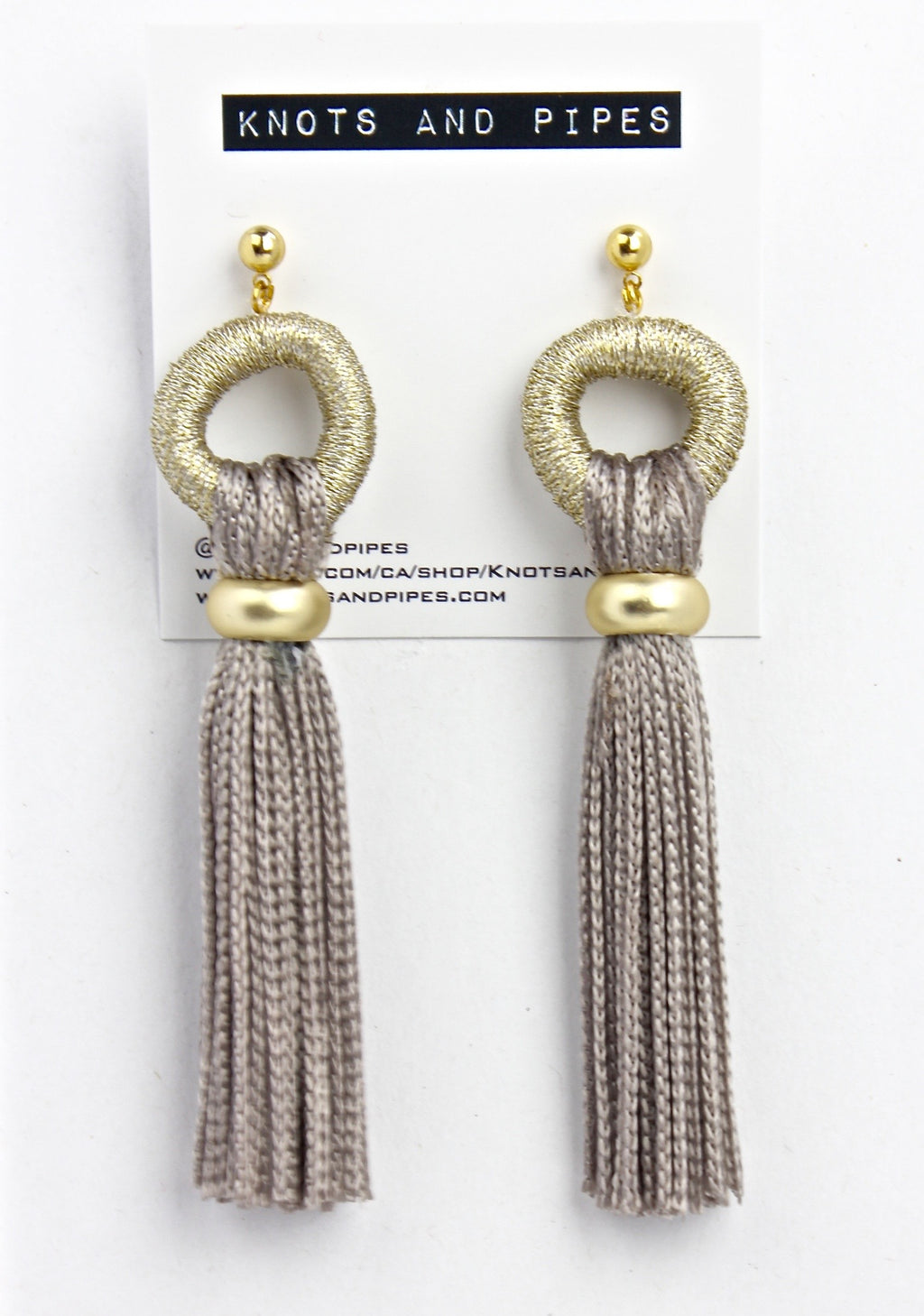 Champagne Tassel Earrings; Knots and Pipes Holiday Collection