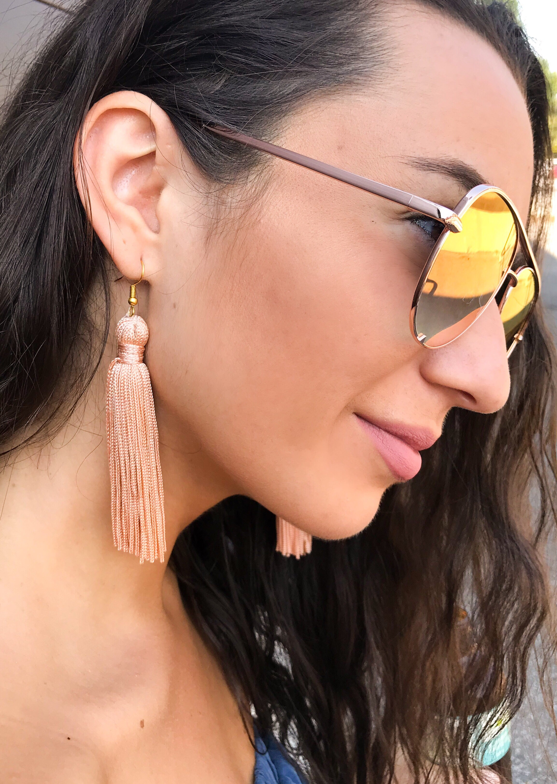 Peachy-Pink Plain Knot Tassel Earrings