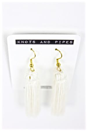 White Plain Knot Tassel Earrings