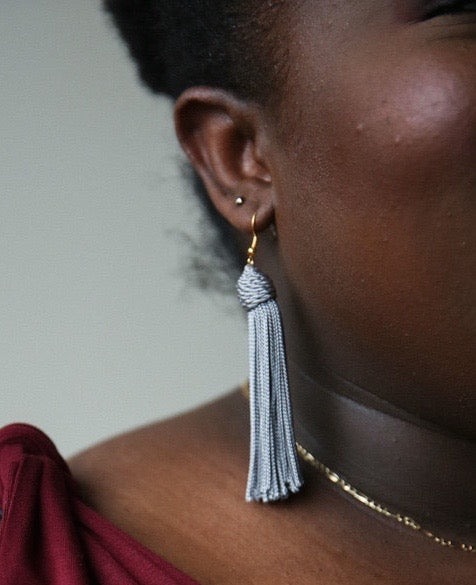 Periwinkle Beehive Knot Tassel Earrings - KnotsandPipes