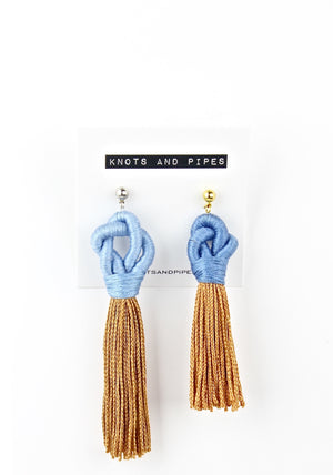 White on Taupe Knot Tassel Earrings - KnotsandPipes