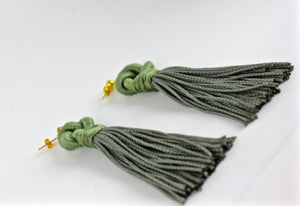 Sage Green Knot Tassel Earrings - KnotsandPipes