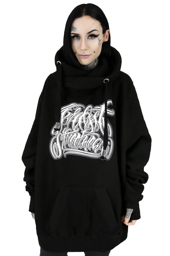 CROSS NECK HOODIE BLACK