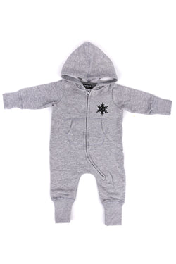 BABY FROST HOODED ALL IN ONE HEATHER GREY