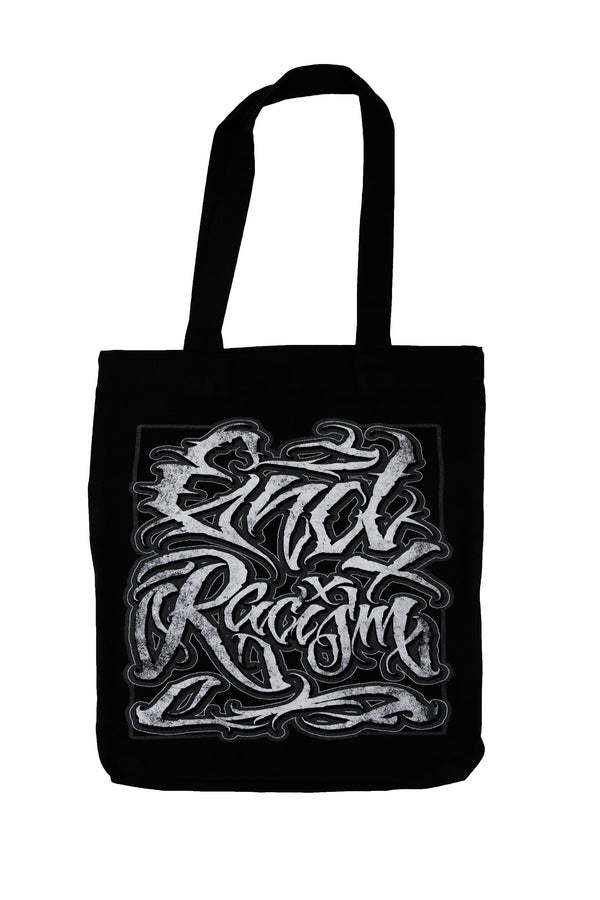 END RACISM SCRIPT TOTE BAG BLACK
