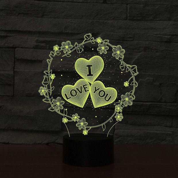 Lampe 3D I Love You & Fleurs