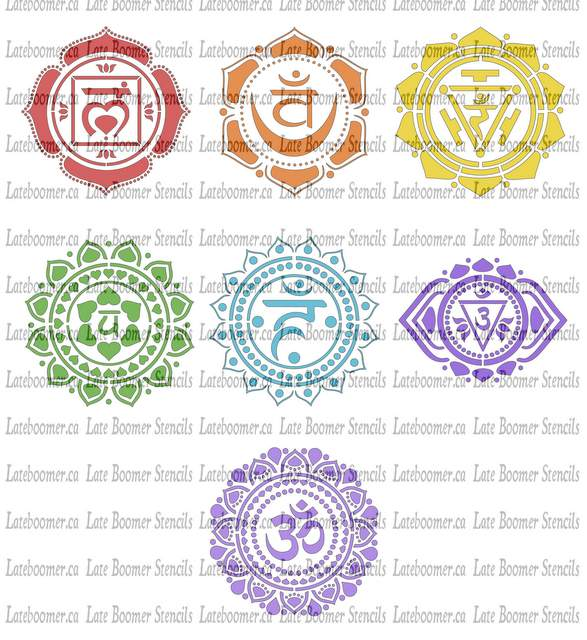 Set of 7 Chakra Symbols Stencils reusable Mylar Stencils Yoga Stencil for painting and airbrush - Late Boomer Vintage