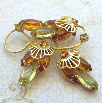 Yellow Rhinestone Filigree Brooch Pin Vintage 1960s statement jewelry - Late Boomer Vintage