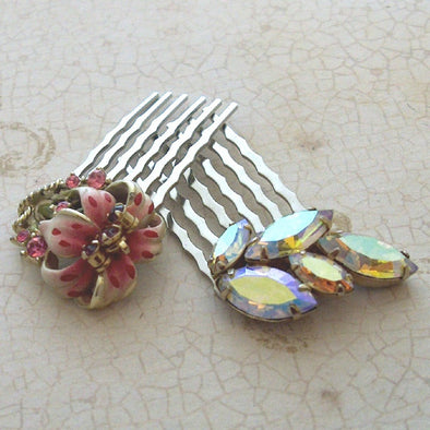 Vintage OOAK Pink Rhinestone Hair Comb set 1950s Sherman Jewelry Bridal something old - Late Boomer Vintage