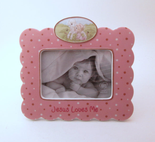 Precious Moments 3.5x5 frame porcelain ceramic Jesus Loves Me pink nursery decor baby gift